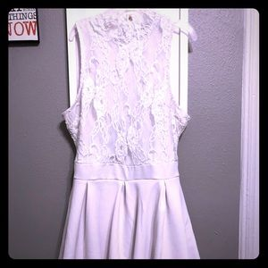 Other - All white, lace top, high neck romper.